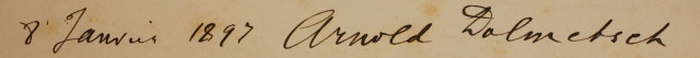 Arnold Dolmetsch's signature in the register of the Luigi Cherubini Conservatory