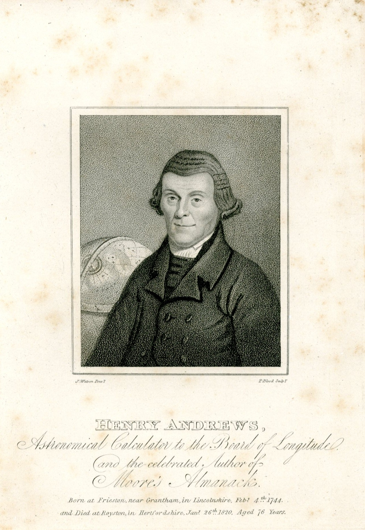 Henry Andrews - engraving by Thomas Blood