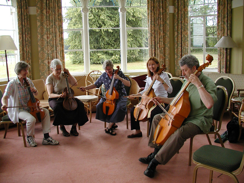 Viol Consort Class - Marguerite Dolmetsch sits in the centre of the five players